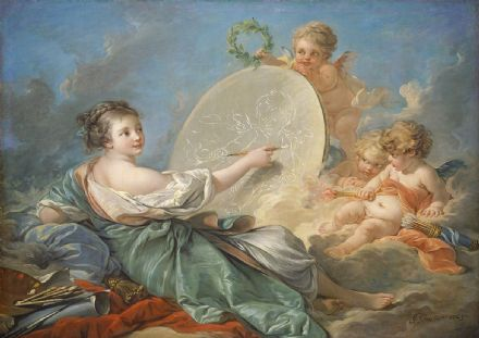 Boucher, Francois: Allegory of Painting. Fine Art Print/Poster. Sizes: A4/A3/A2/A1 (00148)